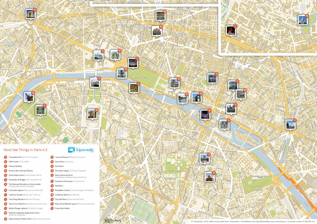 Map of the main monuments of Paris