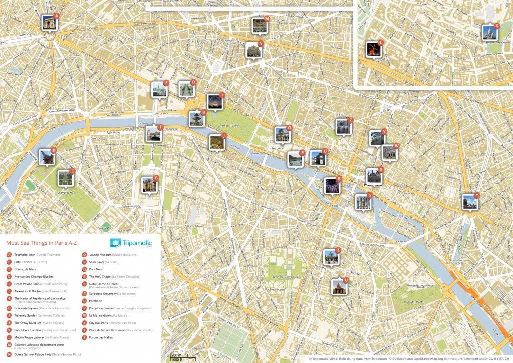 パリの主要モニュメントの地図